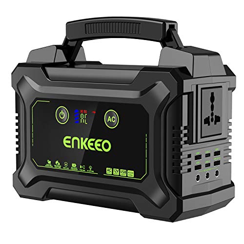 ENKEEO Accumulatore di Energia 222Wh/60000mAh, Power Station con 1x220V AC, 3xDC, 6xUSB (1x QC3.0, 2xType C), Display LCD e Torcia LED SOS, Ricaricabile Tramite Corrente/Pannello Solare/Auto
