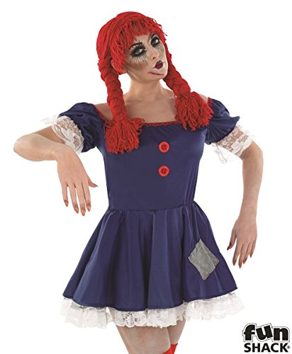 Für Scary Halloween Kostüme Doll (Damen Scary Stoffpuppe Kostüm für Halloween Circus Clown Fancy Kleid Outfit in: M Medium UK 12–14 UK)