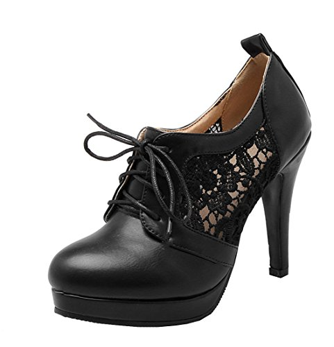 YE Damen High Heels Spitze Stilettos Cut Out Geschlossen Pumps mit Schnürung Elegant Kleid Schuhe