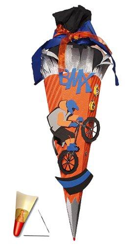 Unbekannt personalisierte 3D Bänder - Schleife - passend für fertig gebastelte Schultüte - Fahrrad BMX 85 cm - mit Holzspitze - Zuckertüte Roth - ALLE Größen - 6 eckig für Jungen Bi..