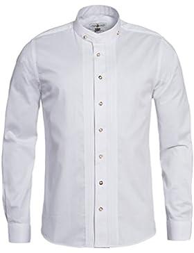 Almsach Trachtenhemd Slimline mit Biesen in Weiß