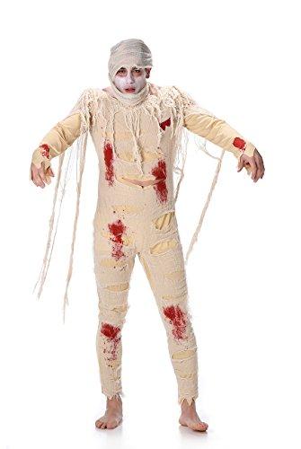 Costume da mummia zombie per uomo adulto, ideale per Halloween, costume tema egizio horror