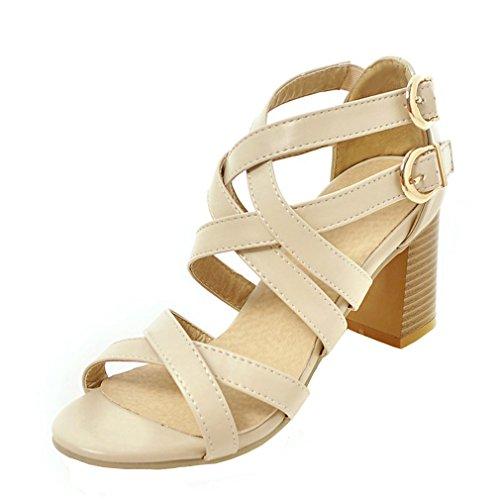 YE Damen Gladiator Sandalen Kn枚chelriemchen Blockabsatz High Heels mit Schnalle und 7cm Absatz Bequem Schuhe Beige