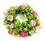 Strecker Blumenkranz Türkranz Kranz Rosen Nelken pink Ø 30 cm Blumen Blütenkranz Seidenstoff zum hängen Wandschmuck Hochzeit Dekokranz Seiden Kunstblumen Blütenkranz