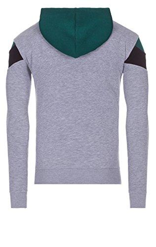 WOOSAH Herren Sweatshirt Kapuzenpullover Malphite grey melange / black / green (1027)