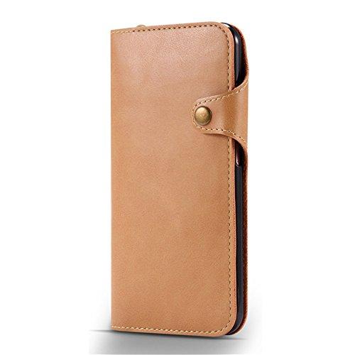 iPhone Hülle,EinsAcc Echtleder Tasche Schutztasche Hülle Case Backcover für iPhone (für iPhone 7 Plus, braun) khaki