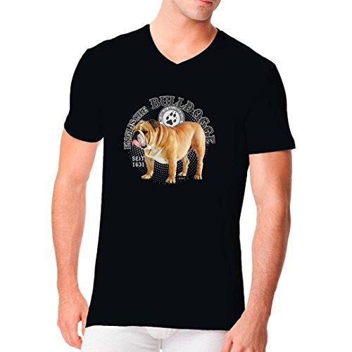 Im-Shirt - Hunde Motiv: Englische Bulldogge Foto cooles Fun Men V-Neck - verschiedene Farben Schwarz