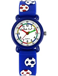 Pacific Time Kinder-Armbanduhr Fußball Analog Quarz blau 20273
