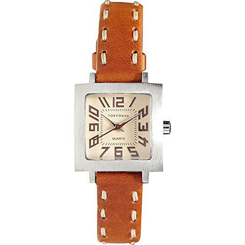 tokyobay-t205-nat-ladies-en-acier-inoxydable-bracelet-en-cuir-brun-mince-brun-cadran-de-la-montre
