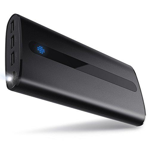 Sipu Batería externa 24000mAh Ultra-Ligera Cargador de móvil externo Batería con 2.1A de entrada, Luces LED y 3 puertos de carga para iPhone, iPad, Android, Samsung Galaxy y demás dispositivos(Negro)