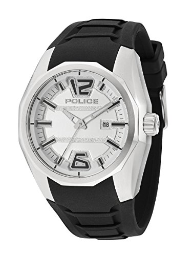 Police PL.94764AEU/01 - Reloj de cuarzo para hombres con esfera blanca y correa negra de silicona