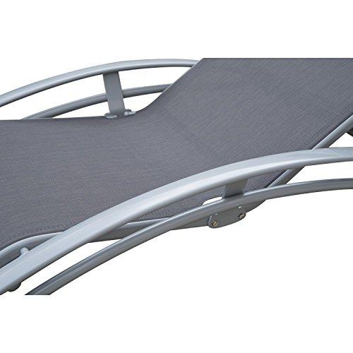 Outsunny Sonnenliege Gartenliege Gartenstuhl Relaxsessel Liegestuhl Aluminium, grau - 8