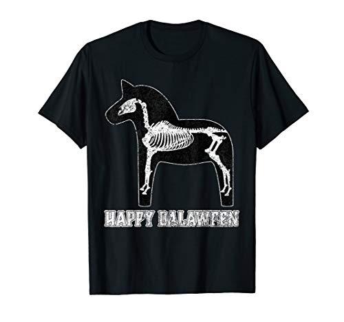 Happy Dalaween Funny Schwedisch Dala Pferd Halloween schwarz T-Shirt (Mensch Pferd Kostüm)