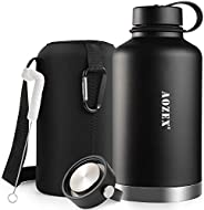 64 oz Stainless Steel Water Bottle, AOZEX Double Wall Half Gallon Vacuum Insulated Water Bottle, Wide Mouth La