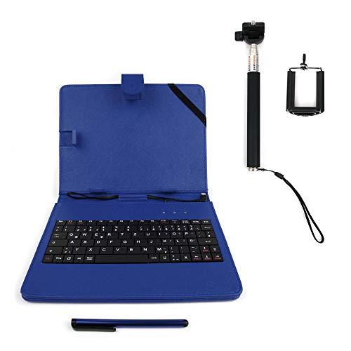DURAGADGET 8 Zoll Blaue Kunstlederhülle Deutsche QWERTZ Tastatur Mikro USB Standfunktion geeignet für Tablet-PCs mit OTG Funktion (On-The-Go, Host-Funktion) & Selfie Stange
