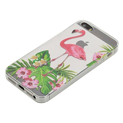 iPhone 5s Hülle Silikon, LuckyW TPU Handyhülle für Apple iPhone 5 5S SE Soft Silikon Tasche Transparent Schale Clear Klar Hanytasche Durchsichtig Rückschale Ultra Slim Thin Dünne Schutzhülle Weiche Fl Vogel