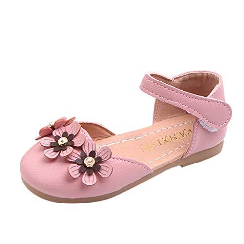 CixNy Kinderschuhe Kleinkind Einzelne Schuhe Sommer Tanzschuhe Mädchen Blumen Und Perle Weich Unterseite Schuhe Lederschuhe Lauflernschuhe Mädchen Prinzessin Shoes Beige Pink Schwarz ()