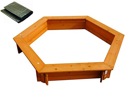Coemo 6-eckiger Sandkasten Holz 120x120 inkl Abdeckplane Sitzbrett Braun