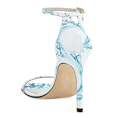 SHOFOO - Femmes - Escarpins - Cuir synthétique - Rouge ou Blanc ou Bleu - Talon aiguille - Bout rond ouvert Bleu