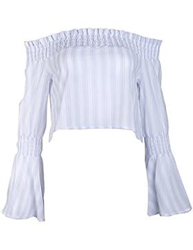 Masterein Verano de las mujeres de la costura del hombro Tops Long rayado de la manga camisetas rayadas de la...