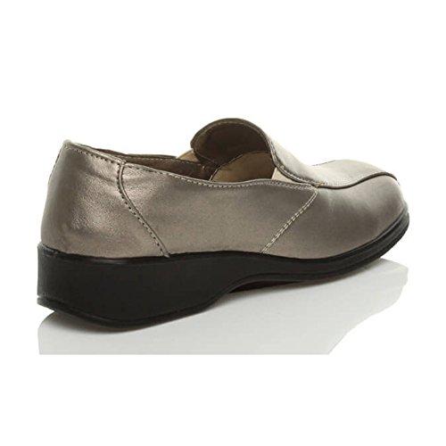 Donna planos basso tacco elastico comodità camminare lavoro scarpe numero Bronzeoa Metallicoa Peltro