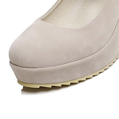 VogueZone009 Femme Velcro Rond à Talon Haut Suédé Couleur Unie Chaussures Légeres Beige