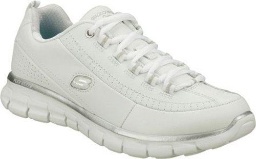 Skechers Synergyelite Status, Sneakers Basses Femme White-Silver