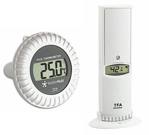 TFA-Dostmann 30.3310.02 Thermo-hygromètre, émetteur avec émetteur de piscine pour système SmartHome WeatherHub le et de surveillance à domicile avec smartphone weiß mit Batterien