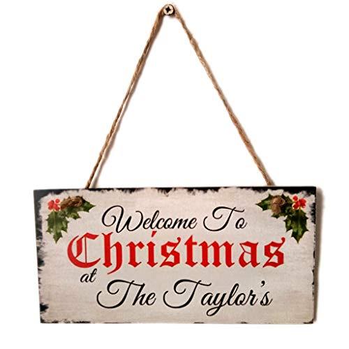 WE-WHLL Holz Hängende Plakette Weihnachtsflagge Zeichen Willkommen