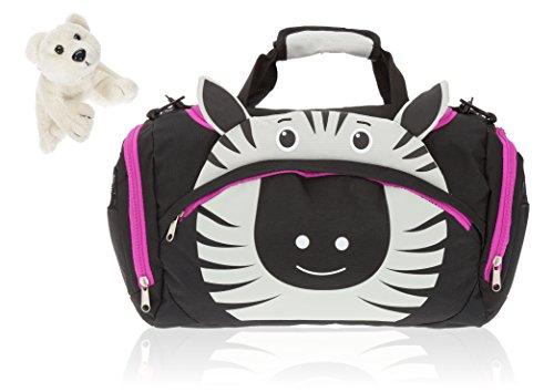FABRIZIO Kindersporttasche Zoo Sporttasche Kindertasche + Eisbär (Zara Zebra 0100)