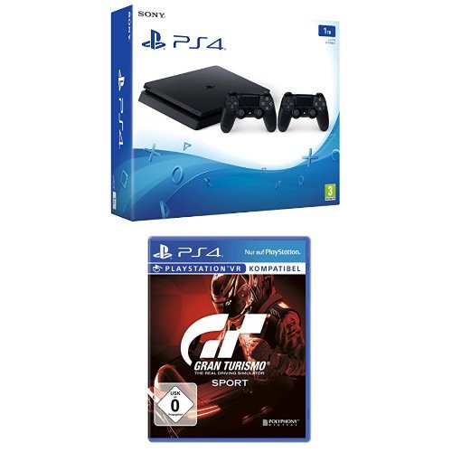 Gran 1 Turismo (PlayStation 4 - Konsole (1TB, schwarz, slim) inkl. 2. DualShock Controller + Gran Turismo Sport)