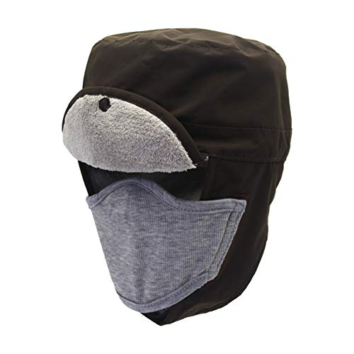 Waterproof Aviator Ski Hats Hunting Hat for Winter with Folding Earflap and Removable Masks Coffee