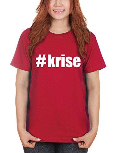 clothinx Damen T-Shirt Karneval #Krise Rot Mit Weiß