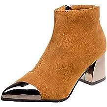 Zapatillas de Mujer de BaZhaHei, Gamuza Gruesa con Cremallera Puntiaguda Botas Botines de Mujer de