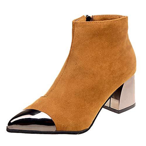 BaZhaHei Damen Schuhe Mode Frauen Spitzschuh Wildleder High Heel Wedges Schuhe Stiefel Reißverschluss Boot Winterstiefel Freizeit Schuhe