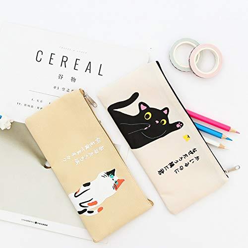 Gmkj Süße koreanische Katze Canvas Tasche Lagerung Aufbewahrungstasche Federmäppchen Federmäppchen Bleistiftbeutel Schulbedarf Schreibwaren Damen Brillen Schreibwaren Aufbewahrungstasche