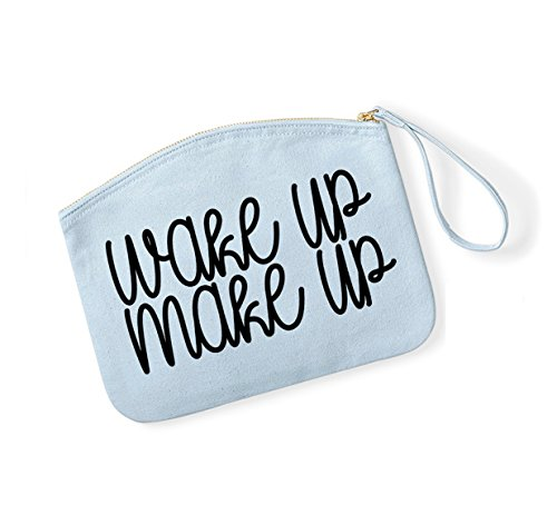 Wake Up, Make Up - Fun Slogan, Make Up Pouch, Accessory Organiser LightBlue/Black