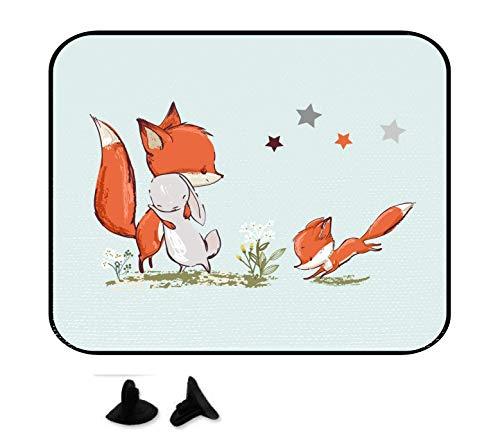 wolga-kreativ Hase und Fuchs mit Name Auto SonnenSchutz und SonnenBlende für Baby und Kind personalisiert Wunschname (ohne Namen)