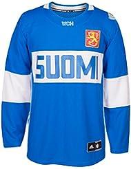 Team Finland 2016World Cup of Hockey Adidas Men 's Premier Blue Jersey Camiseta, xx-large