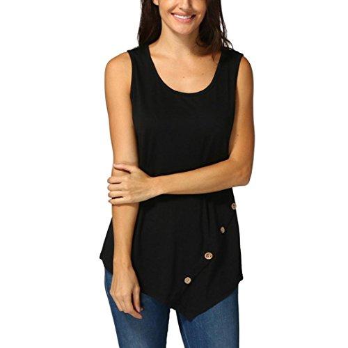 s, New Frauen Sleeveless Loose Button Trim Bluse Einfarbig Rundhals Tunika T-Shirt(L,Schwarz) (Damen Nike Loose Tank Top)