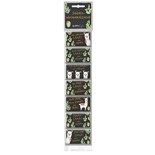 Preisvergleich Produktbild Happy Life Schokolade Wochen-Kalender mit Lama-Motiv,  mit Spruch No Drama Lama,  1er Pack (1 x 52.5 g)