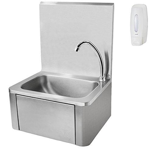 Beeketal 'HWB-I' Knie-Kontakt Handwaschbecken aus Edelstahl, Industrie Waschbecken zur Wandmontage inkl. Siphon, Mischventil zur Temperaturregulierung und gratis Seifenspender