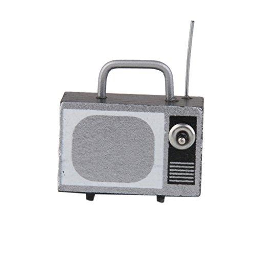Retro Fernsehfernsehen Mit Antenne 12.01 Puppenhaus Miniatur