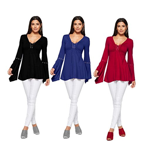 Overdose Women Top Flare Long Sleeve Solid Bandge Blouse T-Shirt