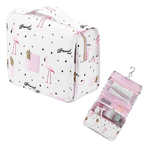 Borsa da toilette appesa impermeabile Borsa da trucco impermeabile da viaggio Kit Organizer Wash Borsa per il trucco cosmetico per le donne Ragazze Beauty Case (Color : White flamingo)