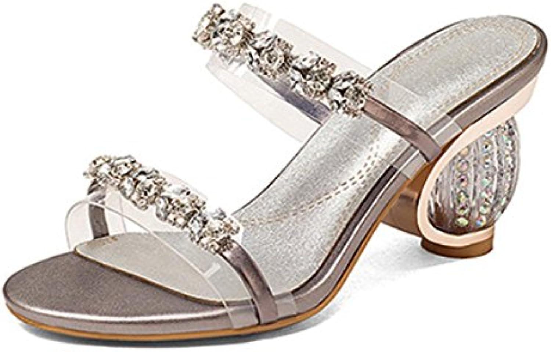 De palabras gruesas sandalias femeninas con sandalias de las señoras de tacón alto de las sandalias de los zapatos...