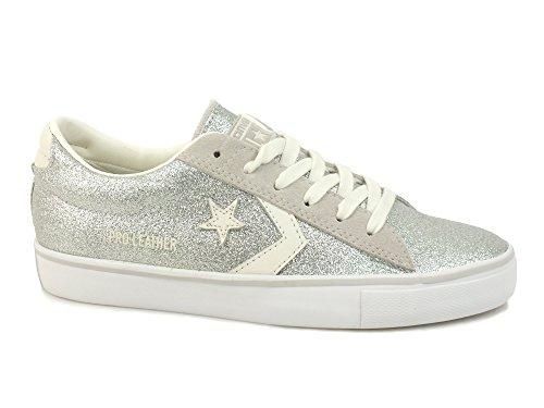 Converse Donna, Pro Leather Vulc Ox, Pelle, Sneakers, Grigio, 35.5 EU