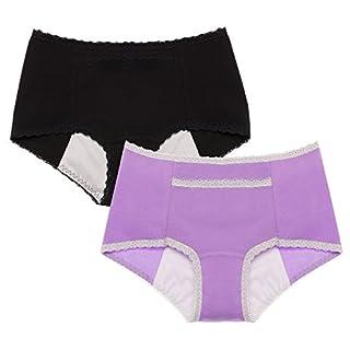 Intimate Portal Damen Geheimagent Auslaufsicherer Sanitär-Slip 2er-Pack Schwarz Violett S/Etikett LL