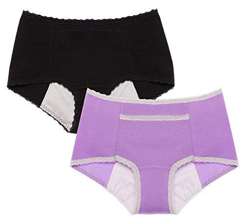 Intimate Portal Damen Geheimagent Auslaufsicherer Sanitär-Slip (2er Pack) - XL, Schwarz Violett