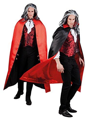 Karneval-Klamotten' Kostüm Wendeumhang Vampir-Umhang mit Stehkragen schwarz-rot Herren Vampirkostüm Einheitsgröße, 150 cm